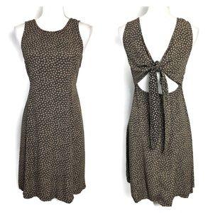 Vintage 90s Dress Black Floral Sleeveless Tie Back